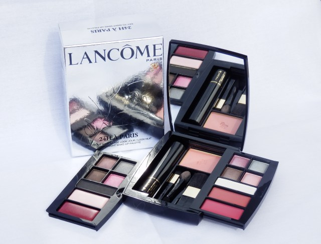 lipstick, lip gloss, eye shadow, mascara, blush, makeup brushes, make-up, makeup, Paris, day makeup, night makeup, day-to-night makeup, makeup set, makeup palette, Lancôme, beauty, cosmetics,  Lancôme's 24H À Paris Day-to-Night Make-up Palette includes 2 removable look trays, 1 free* mini Virtuôse Black Mascara, 1 Blush Subtil Powder Blusher 02 | Radiant Day Look - 5 Ombre Absolue Powder Eye Shadow Quad A10 Pink - Quad G10 Silver - F60 - A05, 2 L'Absolu Nu Solid LipColour 201 - 302 | Intense Night Look - 4 Ombre Absolue Powder Eye Shadow A10 - Quad G10 Dark Grey - F75 - Rose Swishfle, 1 Ombre Hypnôse Powder Eye Shadow M300, 1 Gloss Lip Gloss Rose Pâle, 1 Color Fever Shine Lip Gloss 314